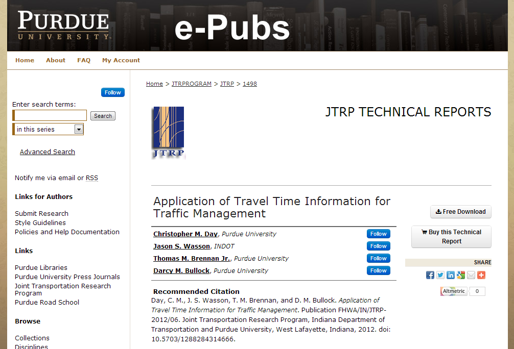 -Application of Travel Time Information for Traffic Management- by Christopher M. Day, Jason S. Wasson et al.