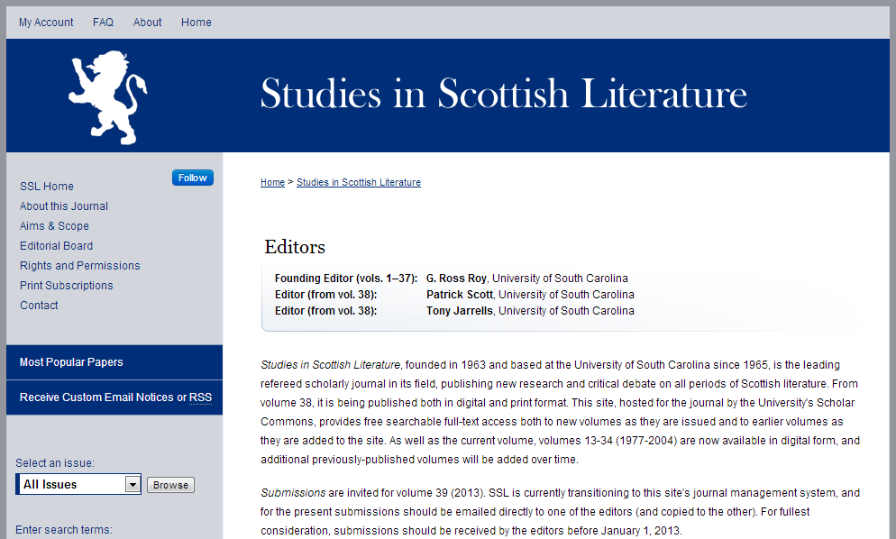 Studies in Scottish Literature - University of South Carolina
