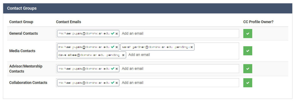 Add contact emails on the back end