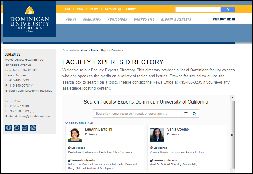 Dominican's embedded Faculty Experts Directory